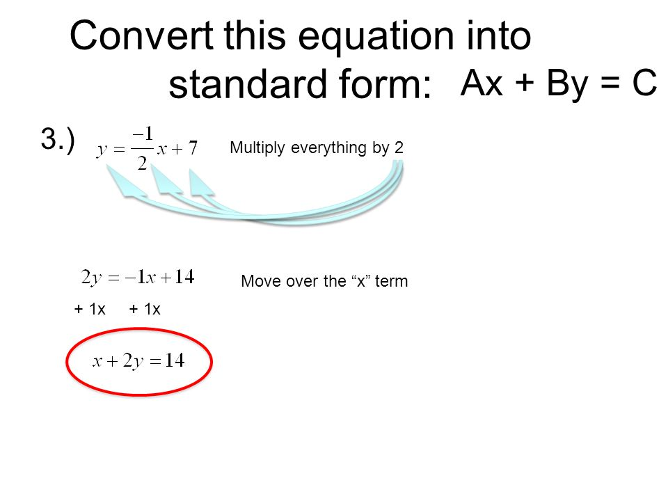 how to change standard form to ax x-s t