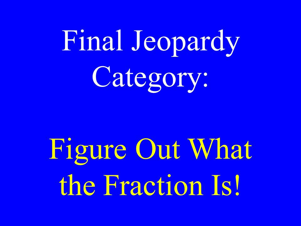 Final Jeopardy Category: