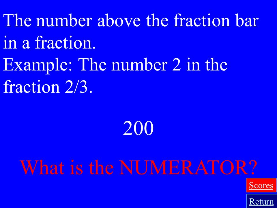 The number above the fraction bar in a fraction.