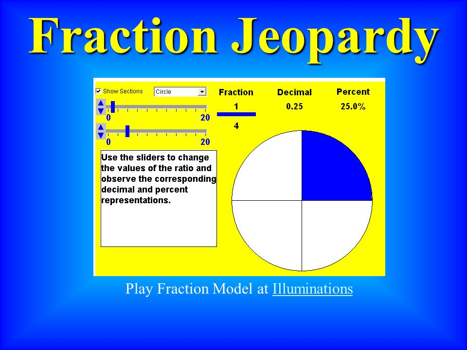Fraction Jeopardy Play Fraction Model at Illuminations