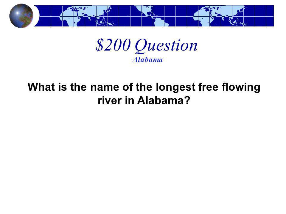 What is the name of the longest free flowing river in Alabama