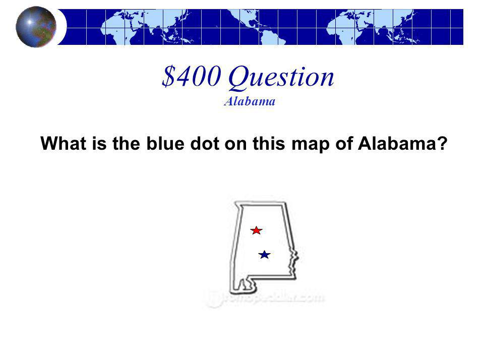 What is the blue dot on this map of Alabama