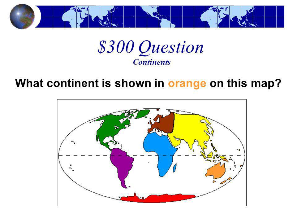 What continent is shown in orange on this map