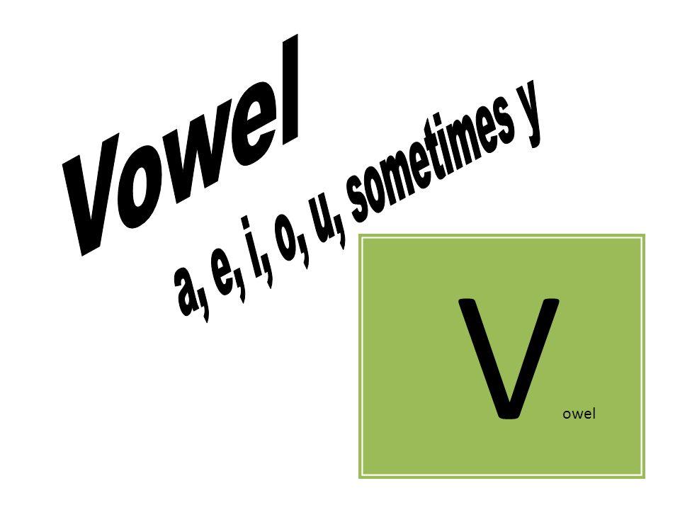 Vowel a, e, i, o, u, sometimes y Vowel