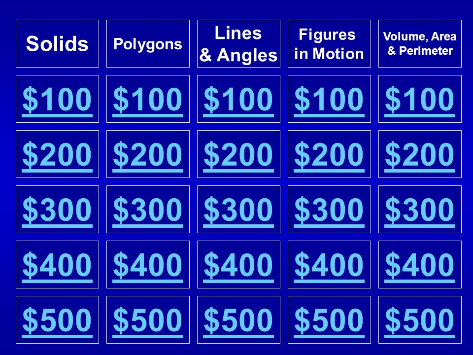 Solids Polygons. Lines. & Angles. Figures. in Motion. Volume, Area. & Perimeter. $100. $100.
