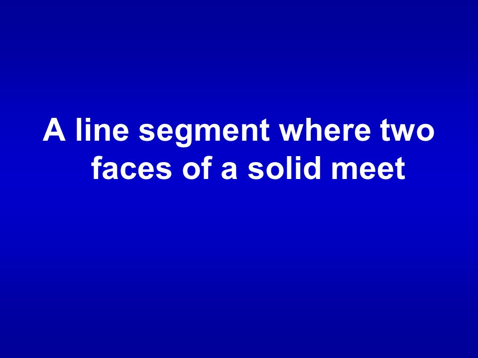 A line segment where two faces of a solid meet