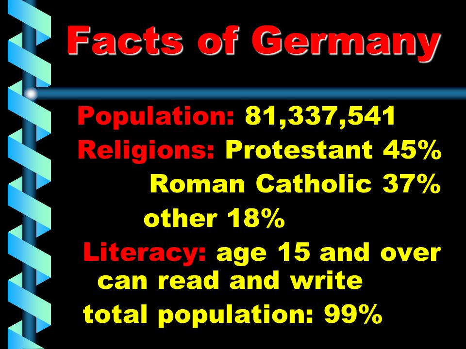 Facts of Germany Religions: Protestant 45% Roman Catholic 37%
