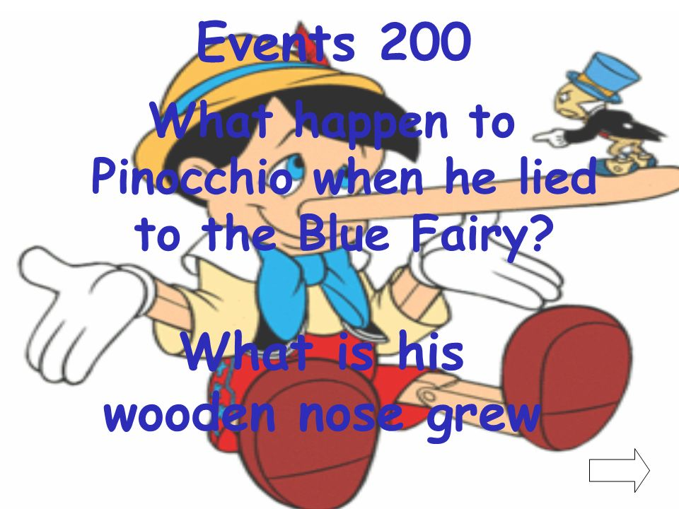Events 200 What is his wooden nose grew