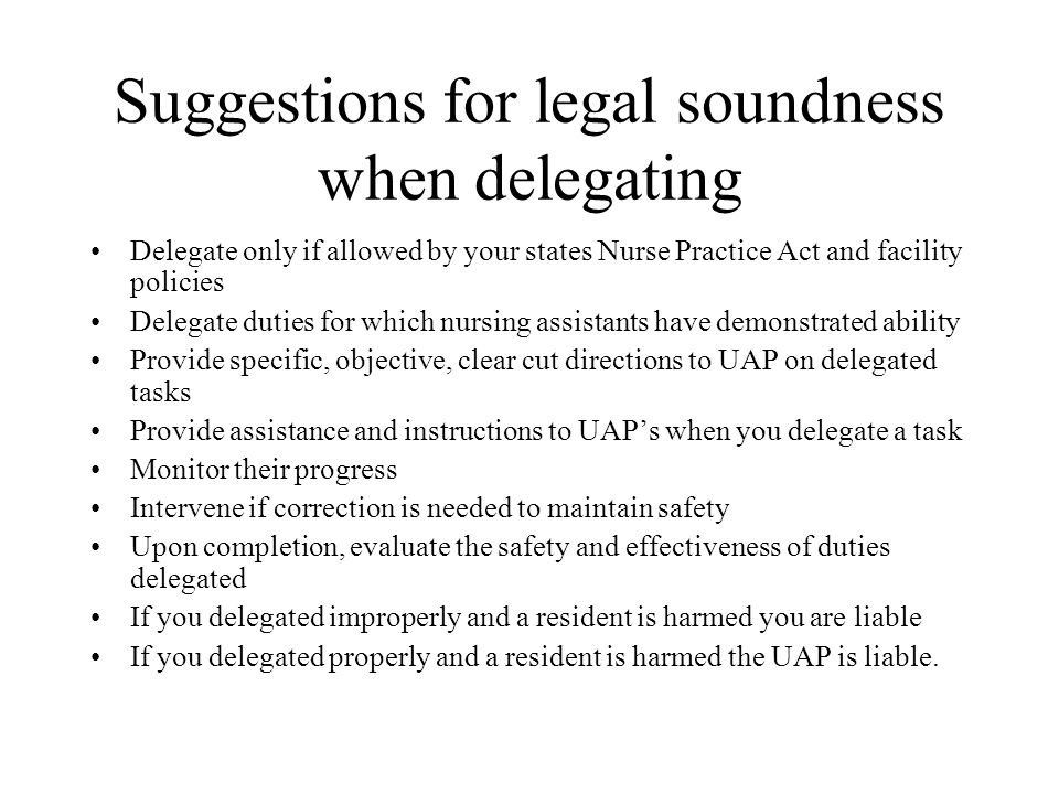 Suggestions for legal soundness when delegating