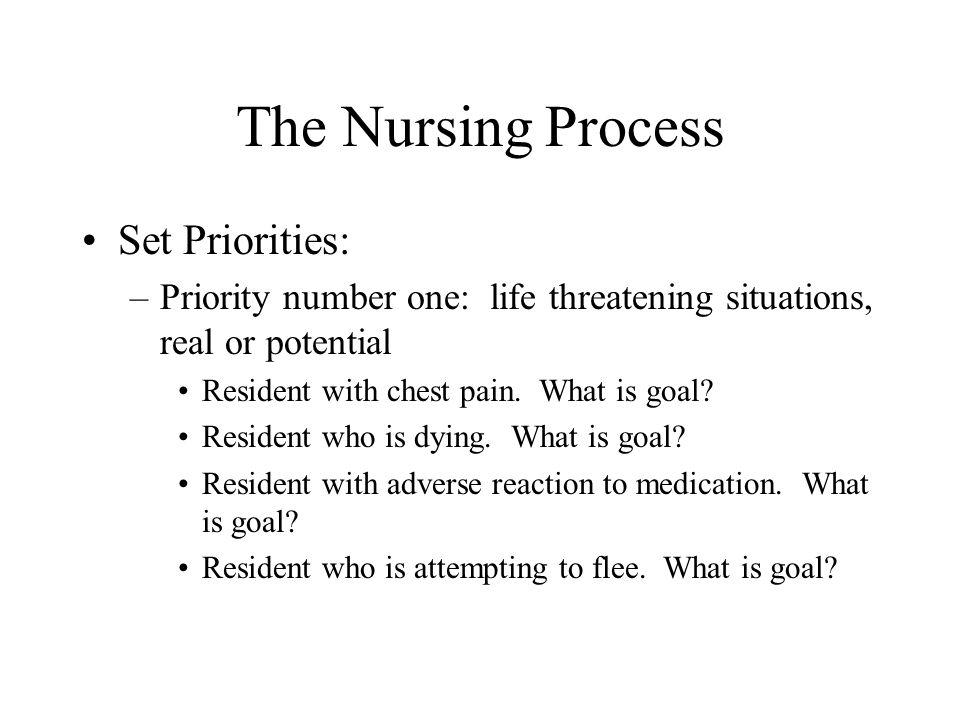 The Nursing Process Set Priorities: