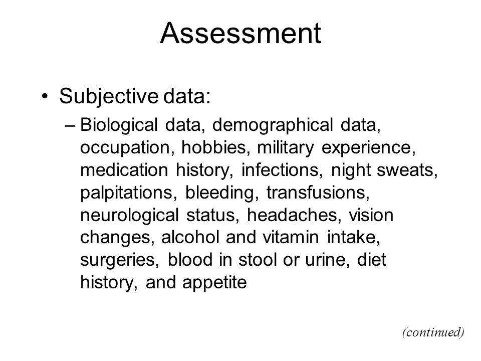 Assessment Subjective data: