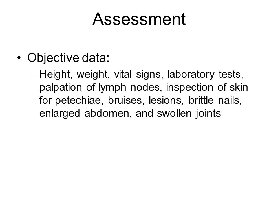 Assessment Objective data: