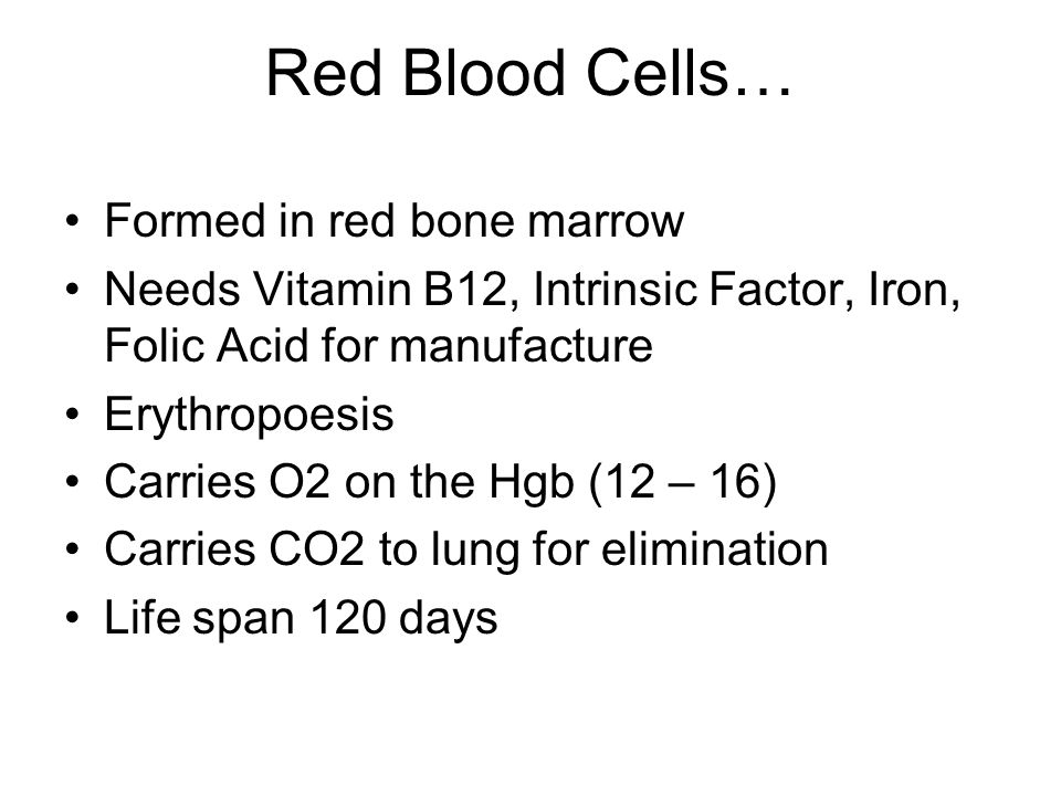 Red Blood Cells… Formed in red bone marrow