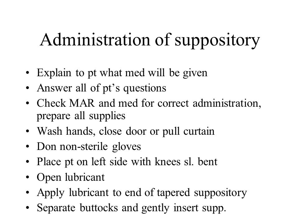 Administration of suppository