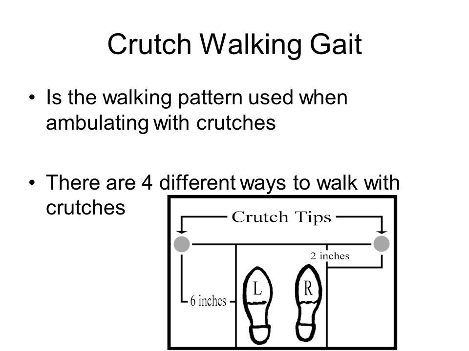 Crutch Walking Gait Is the walking pattern used when ambulating with crutches.