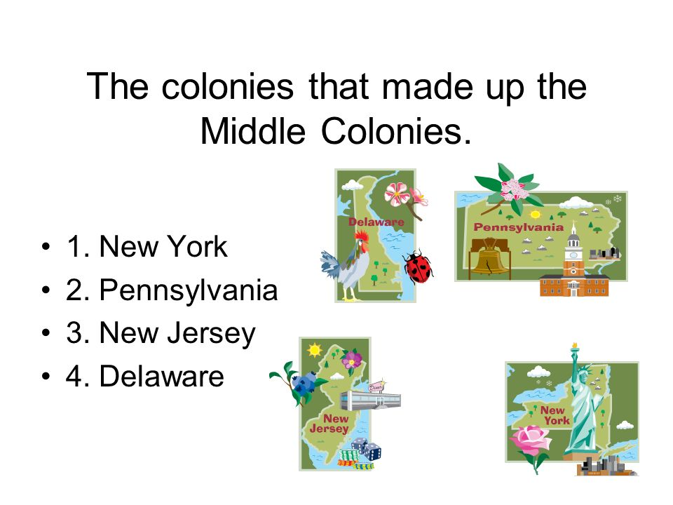The colonies that made up the Middle Colonies.