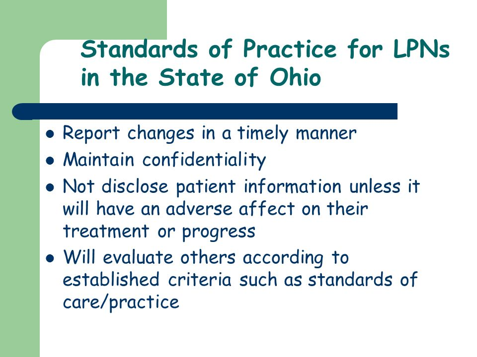 Standards of Practice for LPNs in the State of Ohio