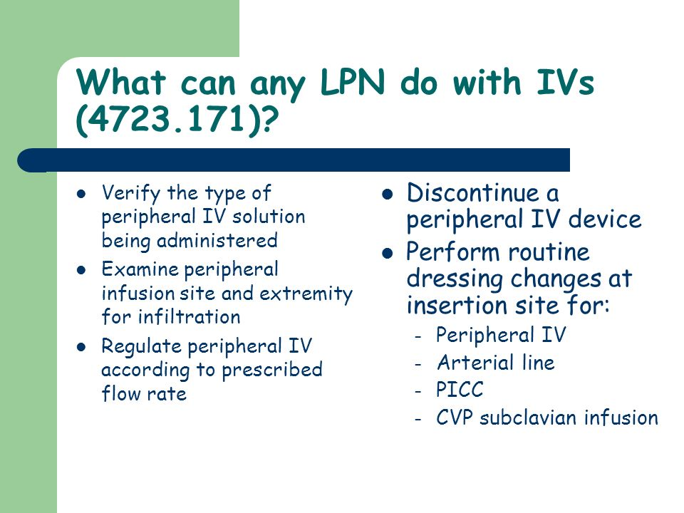 What can any LPN do with IVs (4723.171)