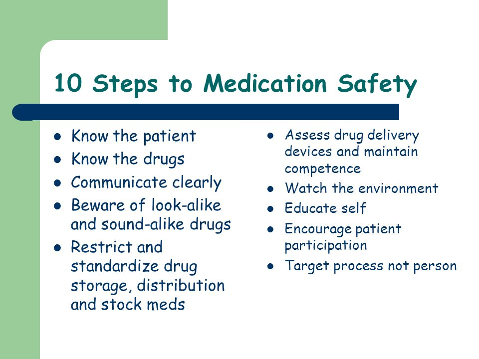 10 Steps to Medication Safety