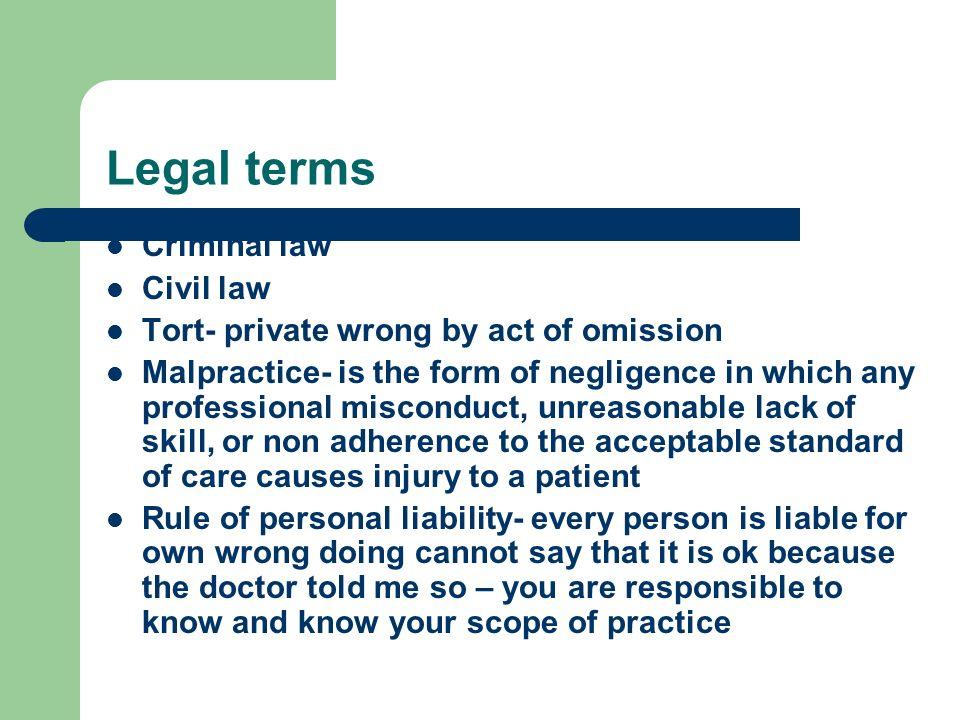 Legal terms Criminal law Civil law