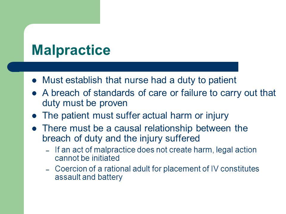 Malpractice Must establish that nurse had a duty to patient