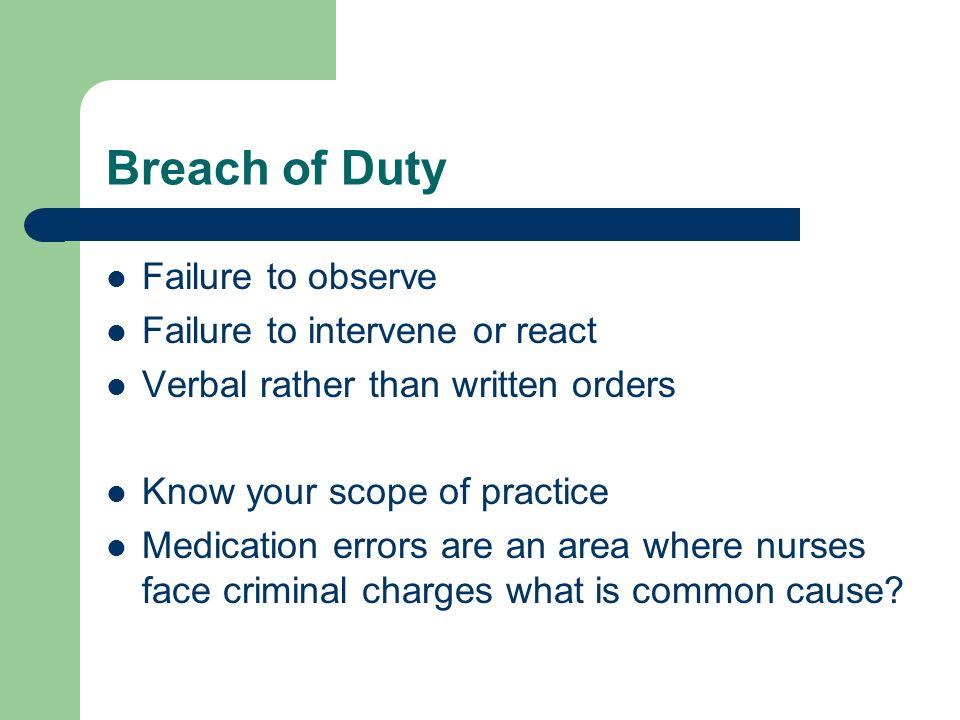 Breach of Duty Failure to observe Failure to intervene or react