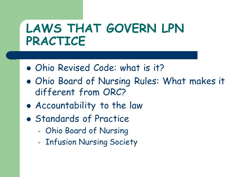 LAWS THAT GOVERN LPN PRACTICE
