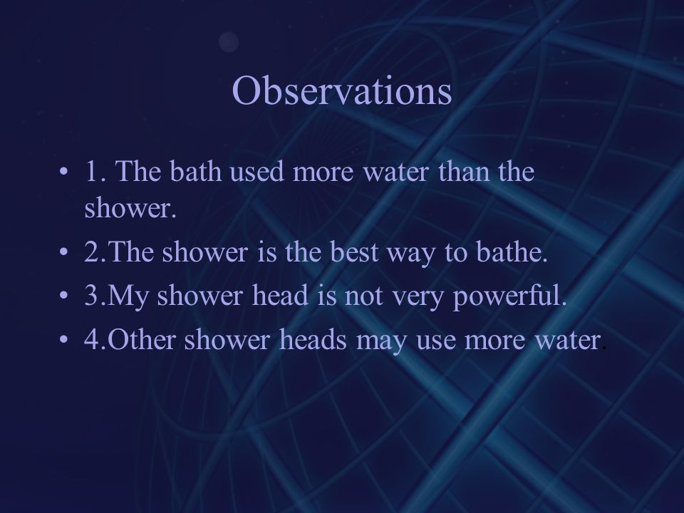 shower vs bath by ppt video online download. Black Bedroom Furniture Sets. Home Design Ideas