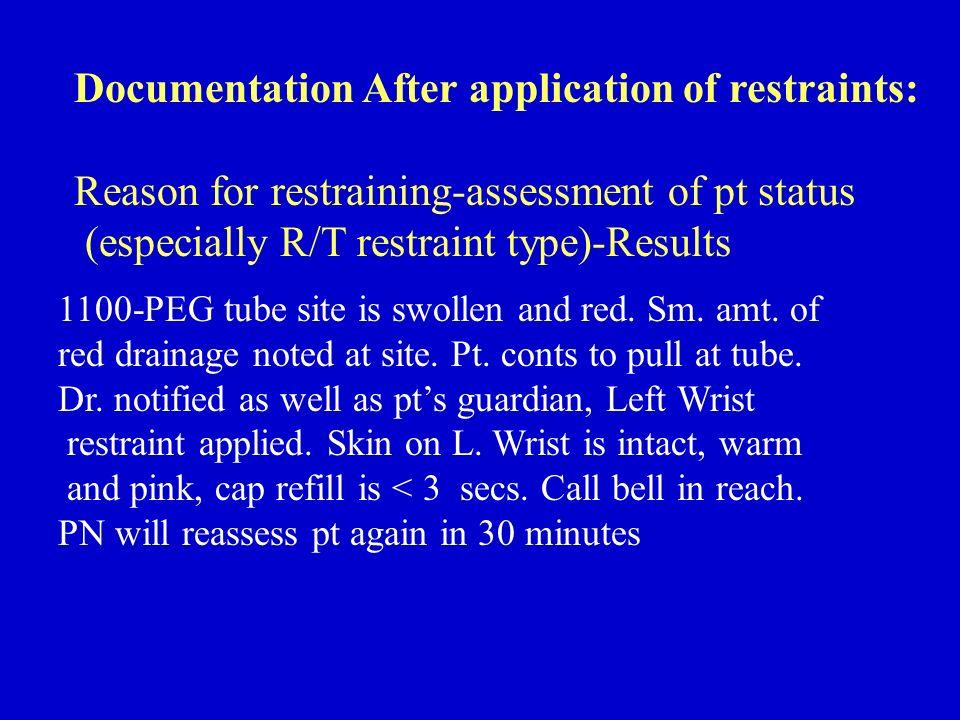 Documentation After application of restraints: