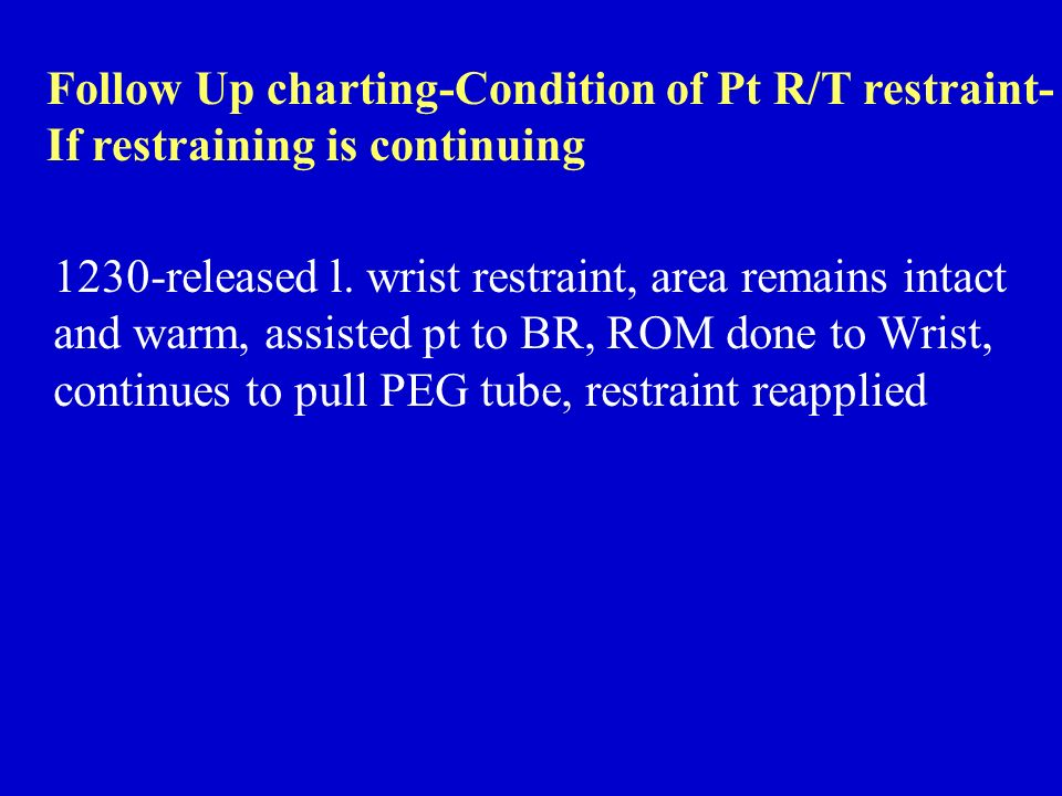 Follow Up charting-Condition of Pt R/T restraint-