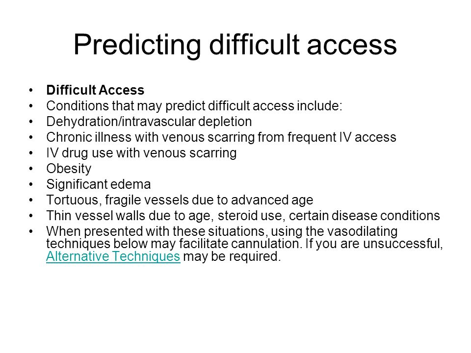 Predicting difficult access