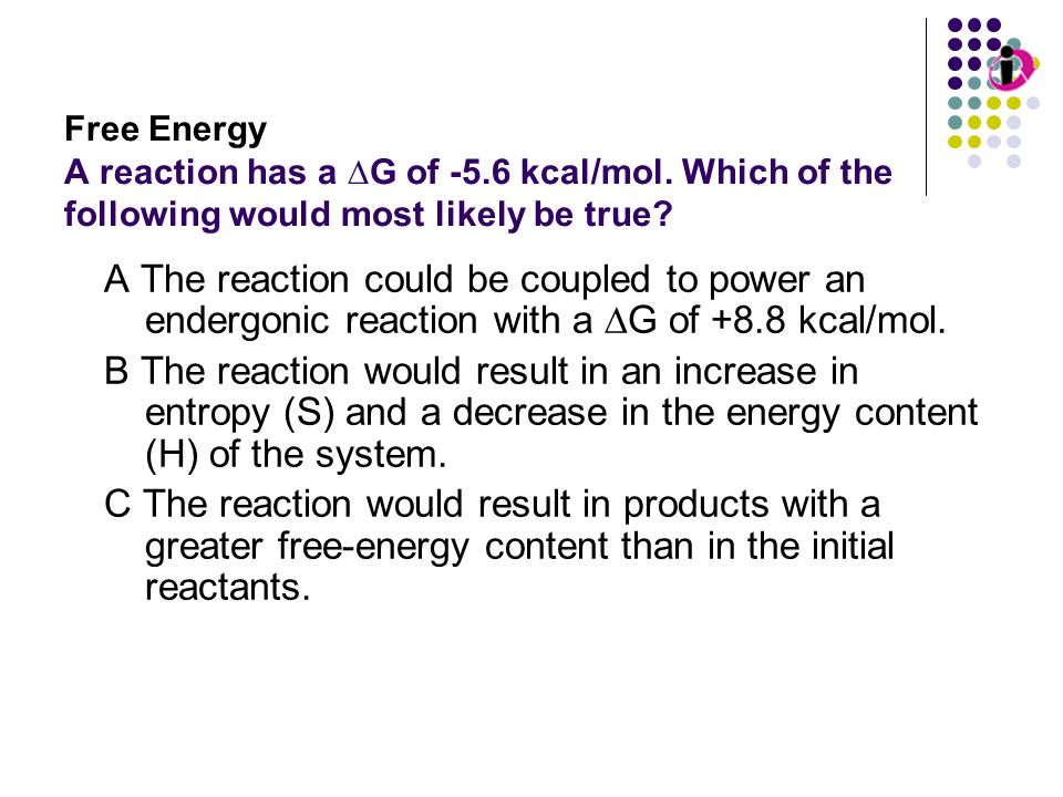Free Energy A reaction has a ∆G of kcal/mol