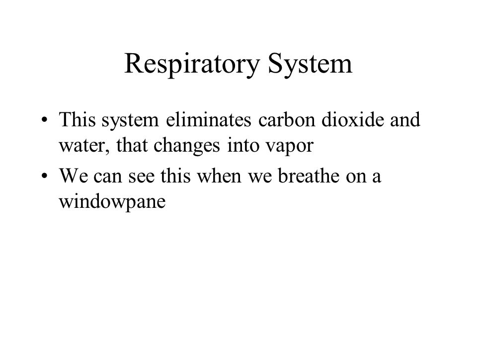 Respiratory System This system eliminates carbon dioxide and water, that changes into vapor.