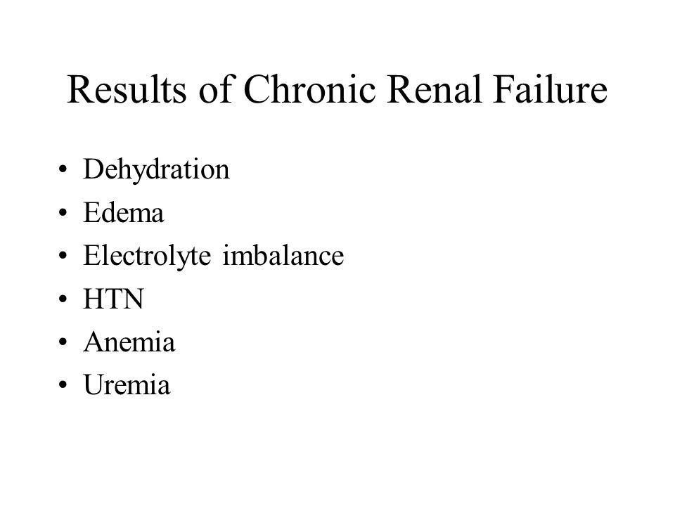 Results of Chronic Renal Failure