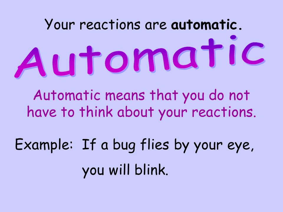 Your reactions are automatic. Automatic