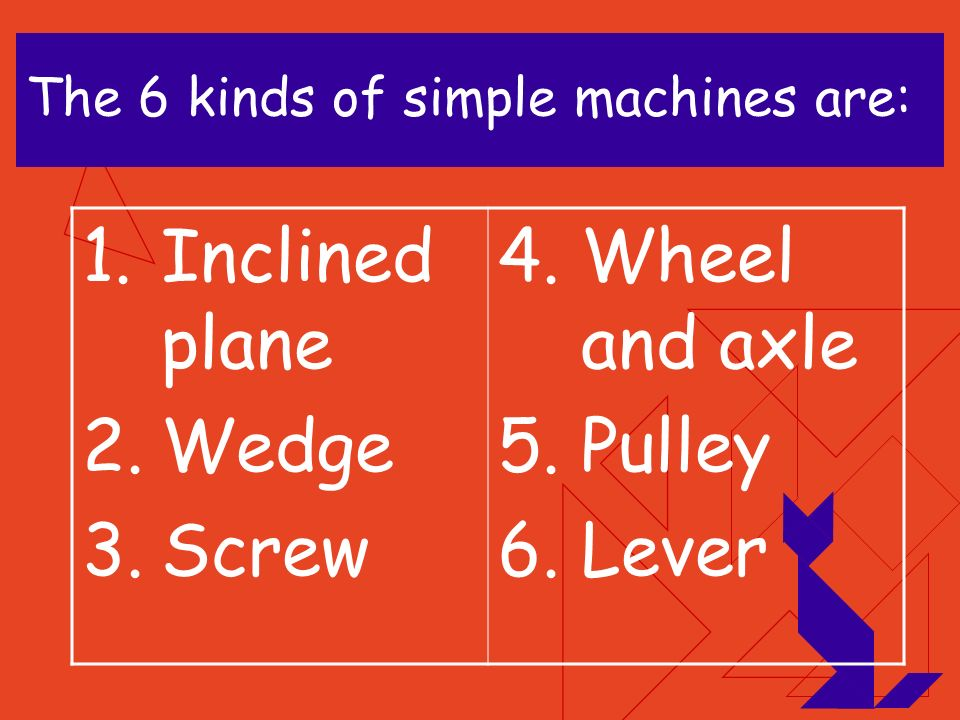 The 6 kinds of simple machines are:
