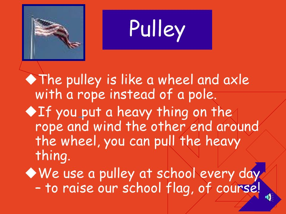 Pulley The pulley is like a wheel and axle with a rope instead of a pole.