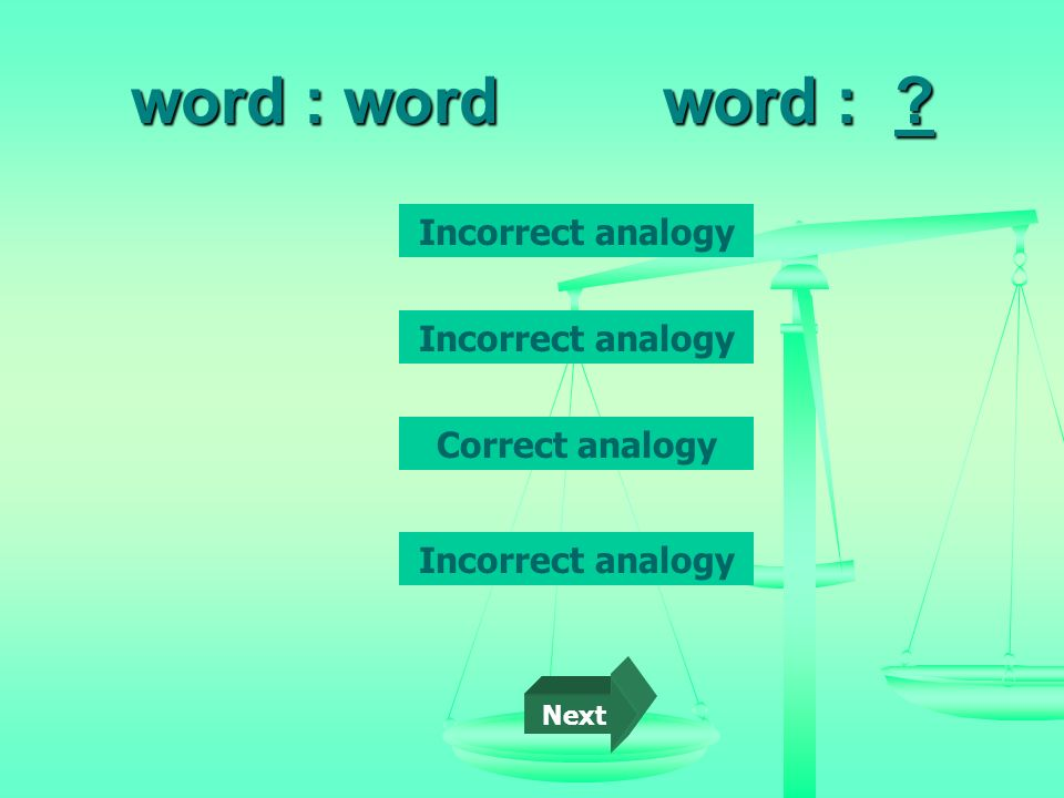word : word word : Incorrect analogy Incorrect analogy