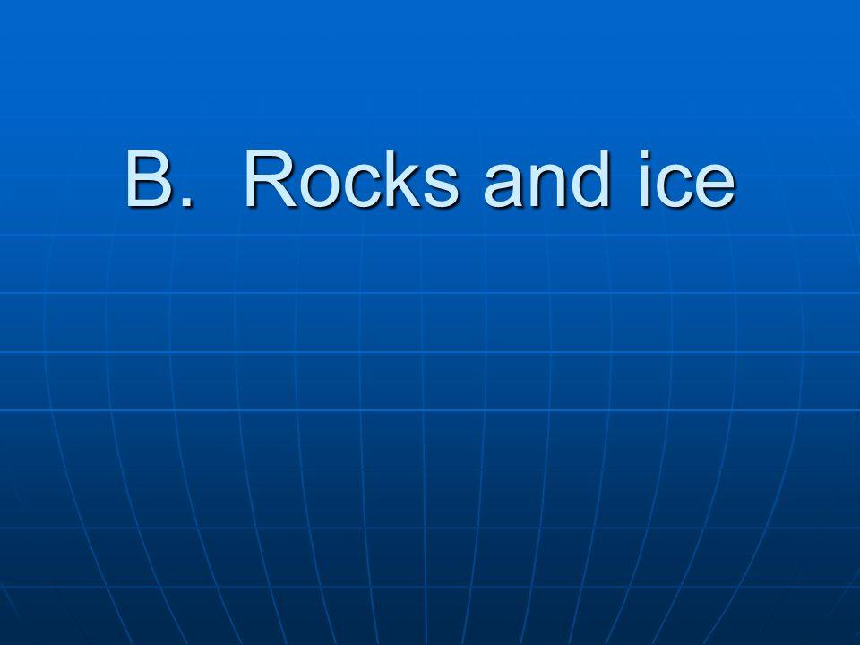 B. Rocks and ice