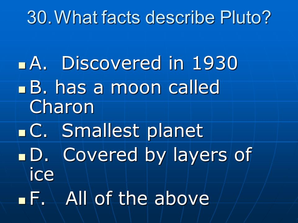 What facts describe Pluto