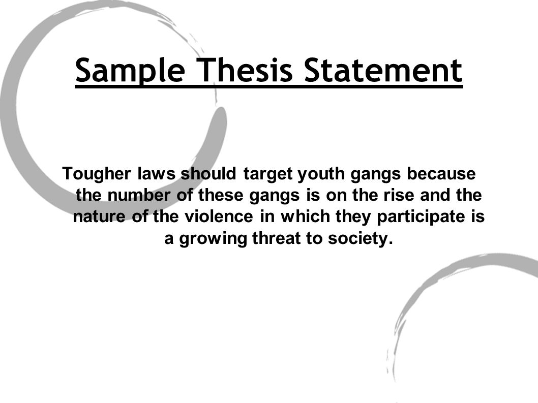 thesis statement on youth gangs