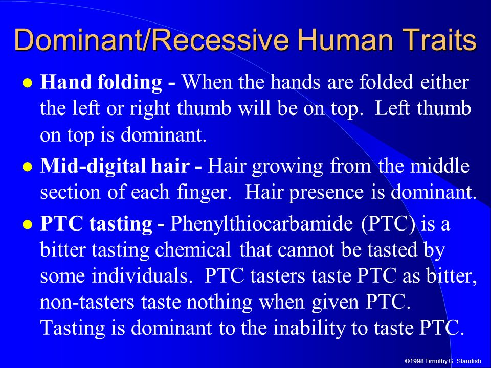 Dominant/Recessive Human Traits