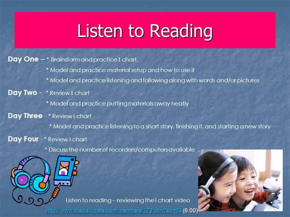 Listen to Reading Day One – * Brainstorm and practice I chart,
