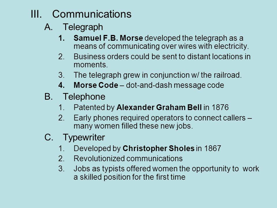 Communications Telegraph Telephone Typewriter