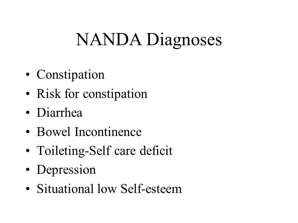 NANDA Diagnoses Constipation Risk for constipation Diarrhea