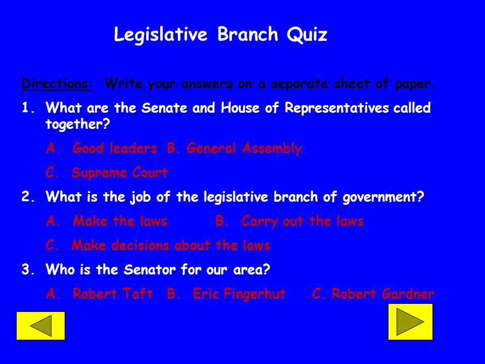 Legislative Branch Quiz