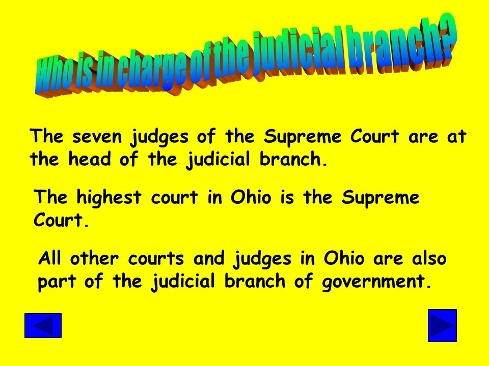 Who is in charge of the judicial branch