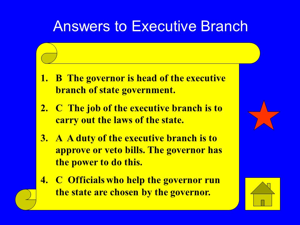 Answers to Executive Branch