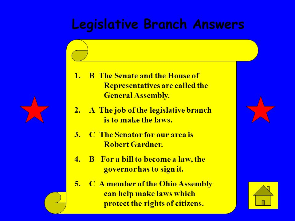 Legislative Branch Answers