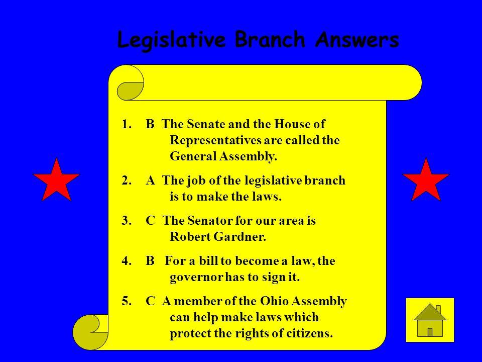Legislative Branch Answers